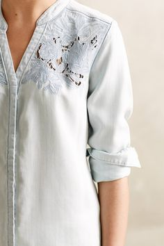 Laced Chambray Buttondown - anthropologie.com