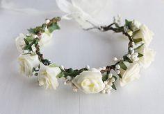 Cream Rose Bridal Crown, Flower Girl Rose Wreath, Rustic Halo, Woodland Crown, Boho Rose Crown, Festivals, Circlet, Ivory Berries Head Piece