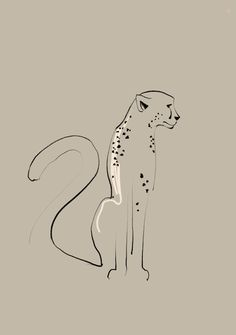 Portfolio: see all of my work - Minimalistic drawing of a cheetah. Cheetah Drawing, Cheetah Tattoo, Cat Tattoo, Wave Drawing, African Tattoo, Minimalist Drawing, Animal Sketches, Art For Art Sake, Mini Tattoos
