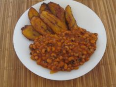 What we call Red Red in Ghana:  Fried plantain and beans stew