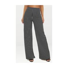 Petite Black Pinstripe Wide Leg Trousers ❤ liked on Polyvore featuring pants, petite pants, wide-leg trousers, petite wide leg pants, wide leg pants and petite wide leg trousers