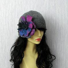 Hand knitted ladies slouchy beanie Grey Crochet  by AlbadoFashion