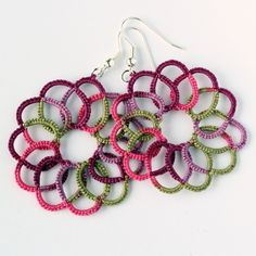 Multicolour swirl tatted earrings