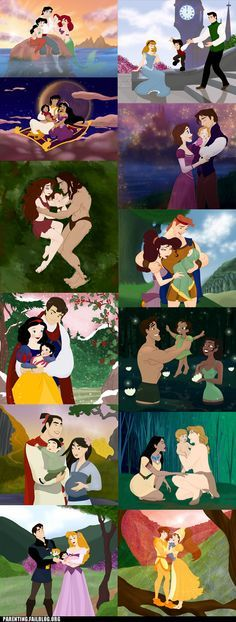 Ok.. few things wrong here... ariel and eric...how the hell?? Mulan..from china..and pregnant again..? And of course all still have toothpick sized waists after childbirth... lol... Nonetheless cute pic :)