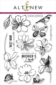 This stamp set includes large floral images. The images have a unique sketched style making them perfect for use either as is or with some added color. This set also has a few sentiments celebrating a