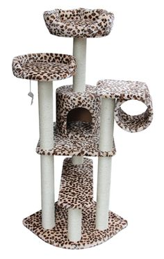 Leopard Print Cat Tree, Cat Furniture, Cat Condo by Kitty Mansions.