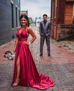 Sexy Halter Red Long Prom Dress with Slit, Wedding Party Gown Judith Bridal Sexy Evening Dress, Evening Dresses, Short Dresses, Prom Dresses, Formal Dresses, Party Gowns, Party Dress, Slit Dress, Slit Skirt