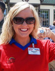Amanda models a Super Bowl ring