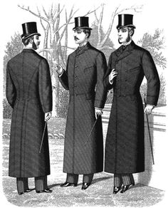 1880 Men's Clothing Styles of late Victorian overcoats are featured in this plate from 1882. The styles represented are known by different names, such as the Albert, Coaching, and Newmarket and were popular for many years, the principal changes in their shapes being in the length of waist.