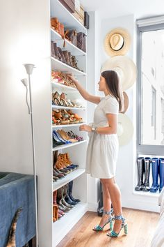 Showcase your shoes with open shelving: http://www.stylemepretty.com/living/2016/07/05/7-genius-storage-solutions-when-youre-low-on-closet-space/
