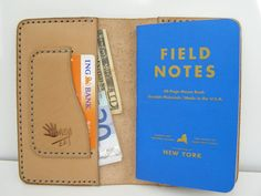 Field Notes Cover, Field Notes Wallet, Natural Vegetable Leather, Free Monogramming and Gift