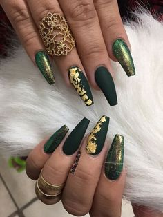Fantastic Green Nail Art Designs Ideas Designer nails can really make you look fashionable and chic. Nail art is one way to make your nails look […] Matte Green Nails, Green Nail Art, Matte Nails, Gold Coffin Nails, Black Gold Nails, Shiny Nails, Matte Gold, Best Acrylic Nails, Acrylic Nail Designs