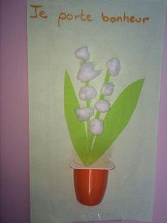 Idée cadeau fête des mères original - Activités manuelles pour la maternelle   Bricolage muguet 1er Mai   brin-de-muguet-boule-cotons-maternelle-2