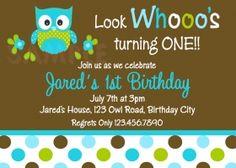 Printable 1st Birthday Invitations, Boys Owl Party