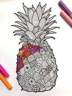 Pineapple PDF Zentangle Coloring Page por DJPenscript en Etsy