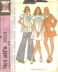 Sewing Pattern Dress Top 1970s McCalls 3524 by TenderLane on Etsy, $8.00