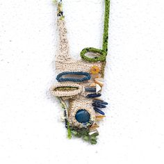 Free Form Crocheted Necklace in Ecru,Green Lime,Blue and Gold,Blue… Fiber Art Jewelry, Textile Jewelry, Fabric Jewelry, Jewelry Art, Beaded Jewelry, Crochet Fall, Crochet Geek, Weird Jewelry, Textiles