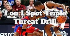 The 1 on 1 spot triple threat basketball drill will allow the players to work on triple threat moves against a live defender, and also work on defense. Basketball Moves, Basketball Coach, Cycling Tips, Road Cycling, Fixed Gear Bicycle, Bicycle Women, Play 1, Field Hockey, Rebounding