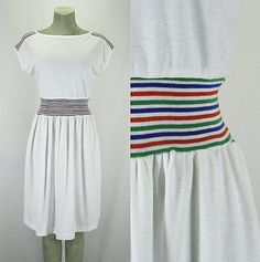 Vintage 80s Knit Fabric White Summer Dress with Rainbow Waist - Size M