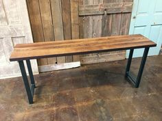 This table is a perfect accent table for your entryway and will surely impress your guests! This wood was salvaged from a barn in Northern Ohio and hand planed to perfection to give a it a polished/finish look while maintaining the beauty of reclaimed wood!   DETAILS:  Wood: Reclaimed Oak Wood Age: 100+ Years Old Wood Thickness: 1.5 - 1.75 From: Northern Ohio Height: 30 Width: 12 Length: see drop down menu Legs: Black H Hand Welded Steel Legs  Custom sizes available upon request! Table ships…