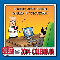 Cubicle dwellers can hang this Dilbert 2014 Mini Wall Calendar and still have room for a phone list, vacation postcards, and their collection of cute cat photos. It includes a full-color Dilbert strip with an expanded panel each month. | $7.99 #dilbert #comics