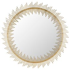 Showcasing a sun ray-inspired iron frame and antiqued gold finish, this delightful wall mirror adds a touch of luxe appeal to your living room or master suit...