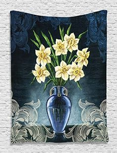 Daffodils Ceramic Pot Picture Art White Ornaments Digital Printed Tapestry Natural Floral House Decorations for Wall Hanging Living Room Bedroom Dorm Decor Navy Yellow Green -- You can find more details by visiting the image link.