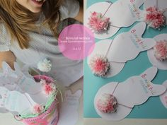 Pom pom bunny tail necklaces. Great girl's Easter gift idea.#atepinningparty