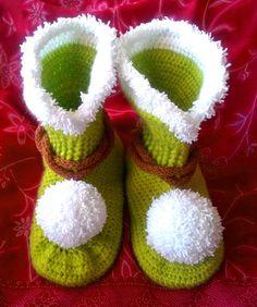 "Tinkerbell Crochet Uggs,Teen Girl Slippers, Teen Gift, for Teen Girl Gift, for Girl 8-12 years, Christmas Gift Idea, fit shoe Size 8"""