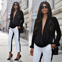 Zara Draped Blouse, Proenza Schouler Bag, Zara Bicolor Trousers, Nelly Asymmetric Court Pumps
