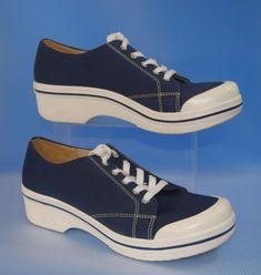 Dansko Vegan Veda Womens Navy Blue White Lace Up Clogs / Shoes Size 40 Sneaker #Dansko #Oxfords