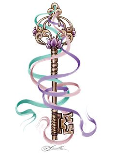 Ribbon & Skeleton Key Tattoo Design  love this it could be my next tattoo!!