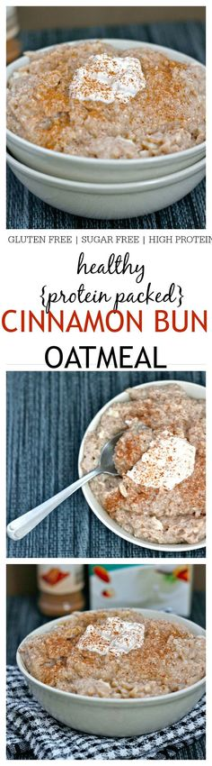 Healthy Cinnamon Bun Oatmeal - This comforting bowl of goodness if gluten free, sugar free, chock full of protein and a sinfully nutritious start to the day - Just like dessert for breakfast!