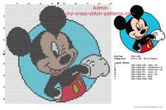 Mickey Mouse Disney en un marco azul patron punto de cruz