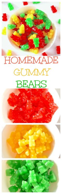 Homemade Gummy Bears - A simple recipe + tips for chewy (not rubbery) regular and sour gummy bears with TONS of flavor, made with only 4 or 5 ingredients! (Summer Bake With Kids) Homemade Gummies, Homemade Gummy Bears, Homemade Candies, Jello Recipes, Candy Recipes, Dessert Recipes, Fruit Snacks, Healthy Snacks, Recipe Tips