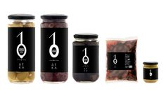 10 Olives / Series of products by DEKA. The visualization of number one, which in some packages like that of oil and olives symbolizes branch and the number zero is the visual coding of the product. In this product line the number zero is an elliptical cycle, according to the product packaging and added an item to visually refers to the type of olive in the package.