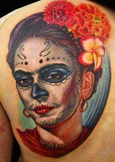 an awesome dia de los muertos/frida kahlo tattoo.