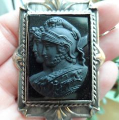 Antique Large Double Headed Black Glass Cameo, Lovers Venus & Mars Cameo with Lion on Helmut and Cherub with Chariot on Shield Only $169.00 by emenow