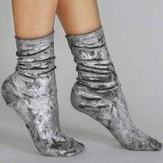 Darner Silver Crushed Velvet Socks - Darner Socks