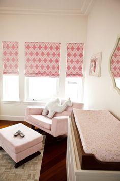 Christopher Farr Venecia in Hot Pink Roman Shades in Nursery, $575.00 (http://store.lynnchalk.com/christopher-farr-venecia-hot-pink-roman-shades-in-nursery/)