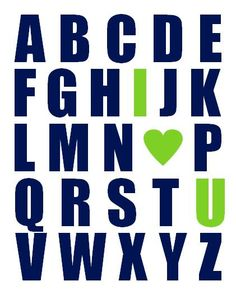 Nursery Art Print, Alphabet With I Heart U - Navy Blue and Lime Green 11x14 ABC I Love You on Etsy, $22.00