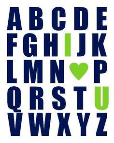 Nursery Art Print, Alphabet With I Heart U - Navy Blue and Lime Green 11x14 ABC I Love You on Etsy, $22.00