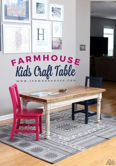 To Make A DIY Candy Dispenser Plinko Game How adorable is this? A DIY farmhouse kids craft table! Free plans by Jen WoodhouseHow adorable is this? A DIY farmhouse kids craft table! Free plans by Jen Woodhouse Kids Craft Tables, Kids Play Table, Kid Table, Table Farmhouse, Farmhouse Ideas, Farmhouse Decor, Farmhouse Furniture, Rustic Furniture, Antique Furniture