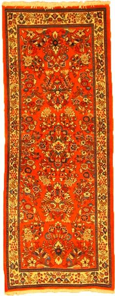 This Authentic Persian Sarough rug is hand-knotted of 100% Natural Wool and has 200 knots per square inch.Colors found in this rug include: Red, Ivory, Navy Blue, Peach, Green, Blue. The primary color is Red. #rugs #orientalrugrunners