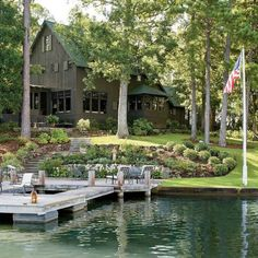 Trendy Ideas For House Lake Exterior Southern Living Lake Cabins, Cabins And Cottages, Small Cabins, Lakeside Living, Outdoor Living, Lakeside View, Casas Containers, Lake Cottage, Cabins In The Woods