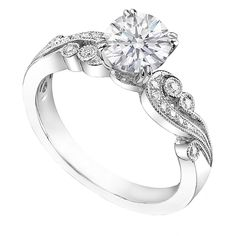 Vintage Design Engagement Ring Swirl Pave Round Diamonds 0.15 tcw in 14K White Gold,