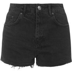 TOPSHOP MOTO Washed Black Mom Shorts ($52) ❤ liked on Polyvore featuring shorts, bottoms, pants, short, washed black, frayed shorts, topshop shorts, topshop and short shorts