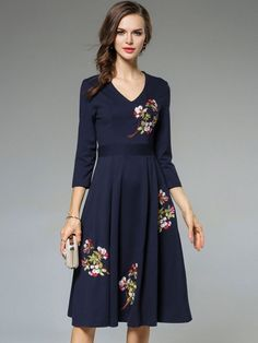 36e7fb9ed7b5 Embroidery Solid Color V-Neck 3 4 Sleeves Wrap Dresses