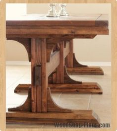 triple pedistal farmhouse table woodworking plans