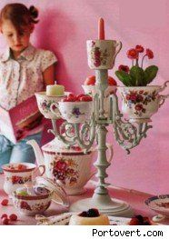 repurposed candelabra and teacups  Wouldn't this be fun with either fruits and veg. or toppings for ice cream???